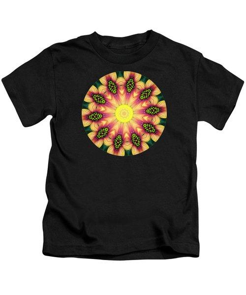 Mandala Yellow Burst Kids T-Shirt by Hao Aiken