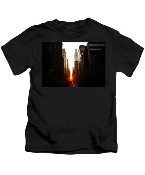 Manhattanhenge Sunset Over The Heart Of New York City Kids T-Shirt by Vivienne Gucwa
