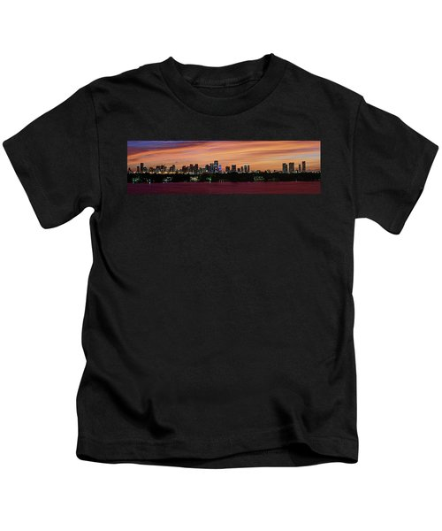 Miami Sunset Panorama Kids T-Shirt by Gary Dean Mercer Clark