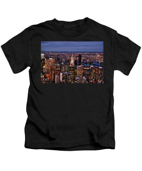 Midtown Skyline At Dusk Kids T-Shirt by Randy Aveille