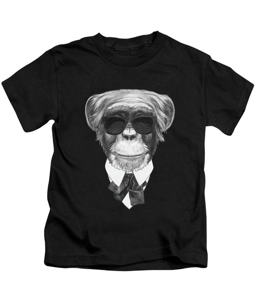 Monkey In Black Kids T-Shirt by Marco Sousa