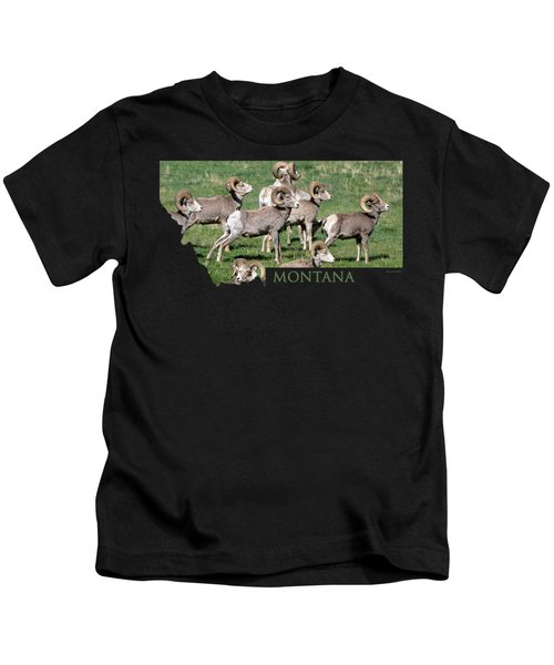 Montana -bighorn Rams Kids T-Shirt by Whispering Peaks Photography