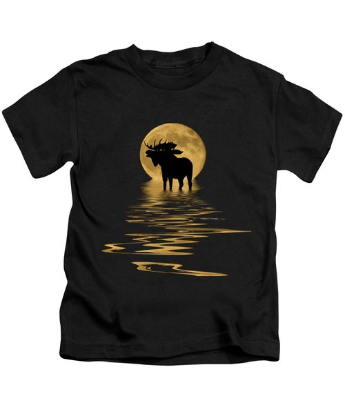 Moose In The Moonlight Kids T-Shirt by Shane Bechler