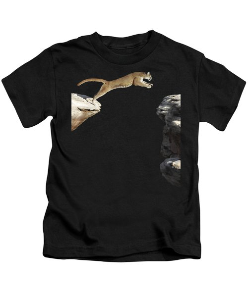 Mountain Lion Leaping Kids T-Shirt by Wildlife Fine Art