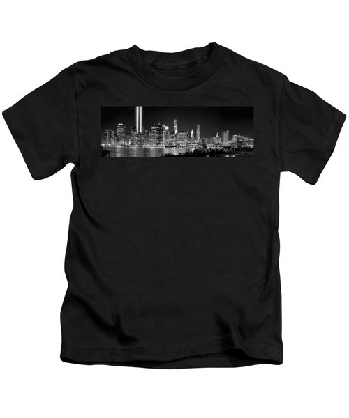 New York City Bw Tribute In Lights And Lower Manhattan At Night Black And White Nyc Kids T-Shirt by Jon Holiday