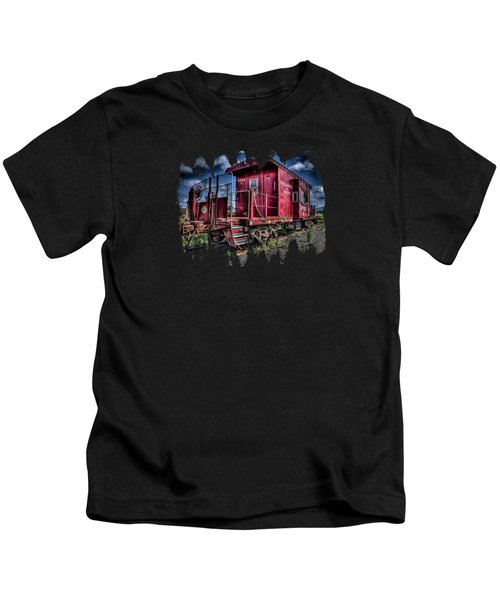 Old Red Caboose Kids T-Shirt by Thom Zehrfeld