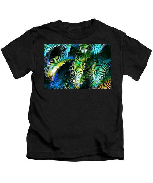 Palm Leaves In Blue Kids T-Shirt by Karon Melillo DeVega