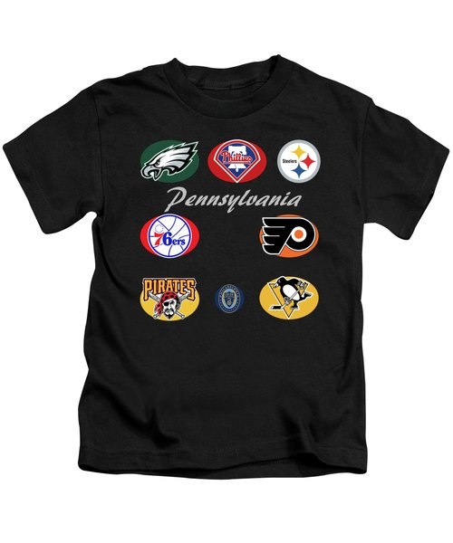 Pennsylvania Professional Sport Teams Collage  Kids T-Shirt by Movie Poster Prints