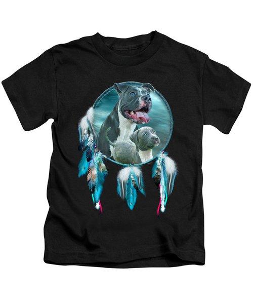 Pit Bulls - Rez Dog Kids T-Shirt by Carol Cavalaris