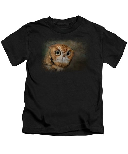 Portrait Of An Eastern Screech Owl Kids T-Shirt by Jai Johnson