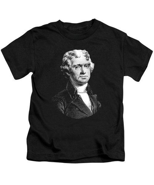 President Thomas Jefferson - Black And White Kids T-Shirt by War Is Hell Store