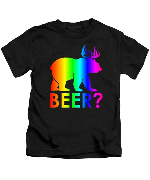 Rainbow Beer Bear Kids T-Shirt by Frederick Holiday