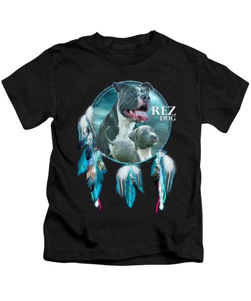 Rez Dog Cover Art Kids T-Shirt by Carol Cavalaris