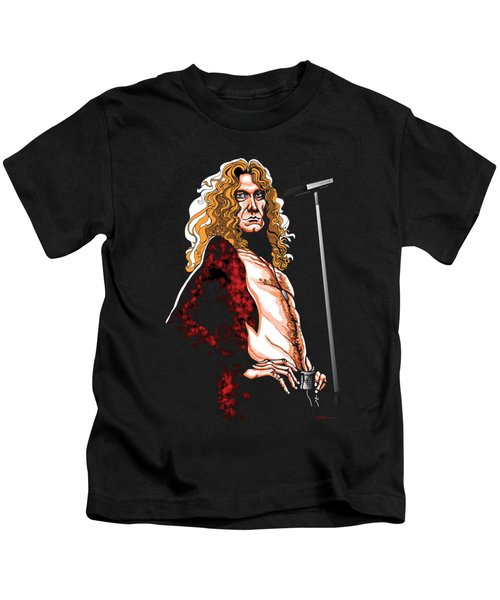 Robert Plant Of Led Zeppelin Kids T-Shirt by GOP Art