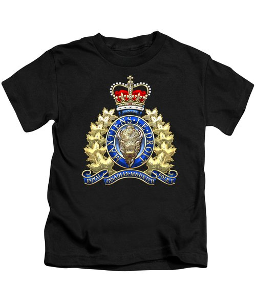 Royal Canadian Mounted Police - Rcmp Badge On Black Leather Kids T-Shirt by Serge Averbukh