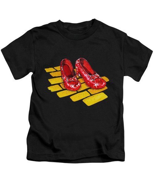 Ruby Slippers From Wizard Of Oz Kids T-Shirt by Irina Sztukowski