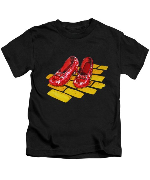 Ruby Slippers The Wonderful Wizard Of Oz Kids T-Shirt by Irina Sztukowski