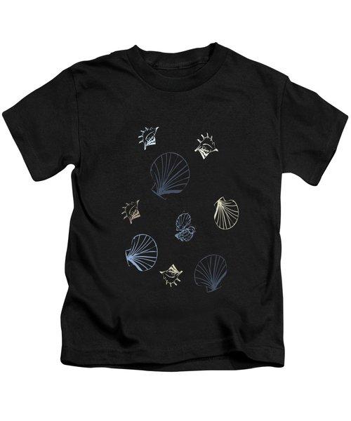 Seashell Pattern Kids T-Shirt by Christina Rollo
