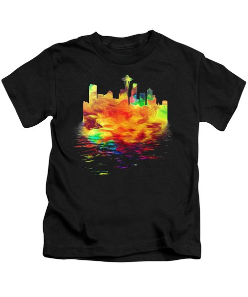Seattle Skyline, Orange Tones On Black Kids T-Shirt by Pamela Saville