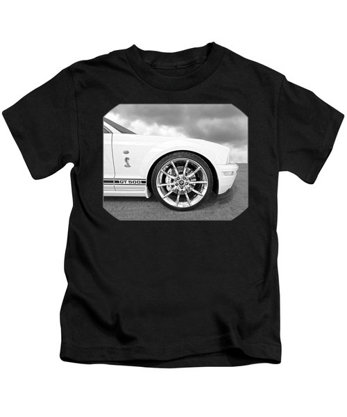 Shelby Gt500 Wheel Black And White Kids T-Shirt by Gill Billington