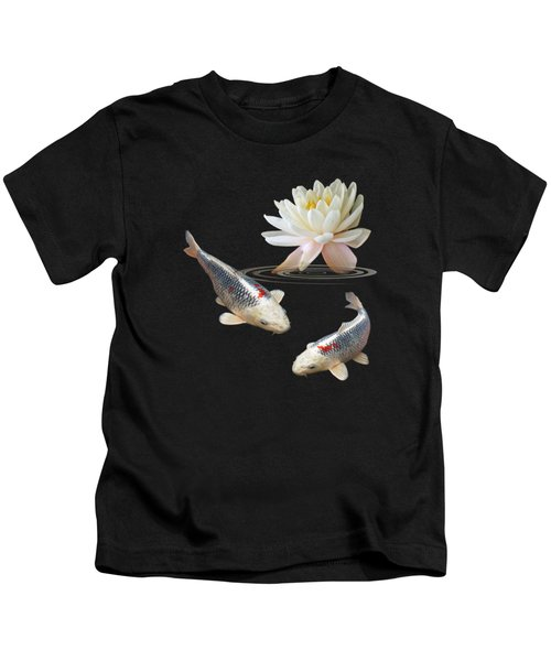 Silver And Red Koi With Water Lily Vertical Kids T-Shirt by Gill Billington