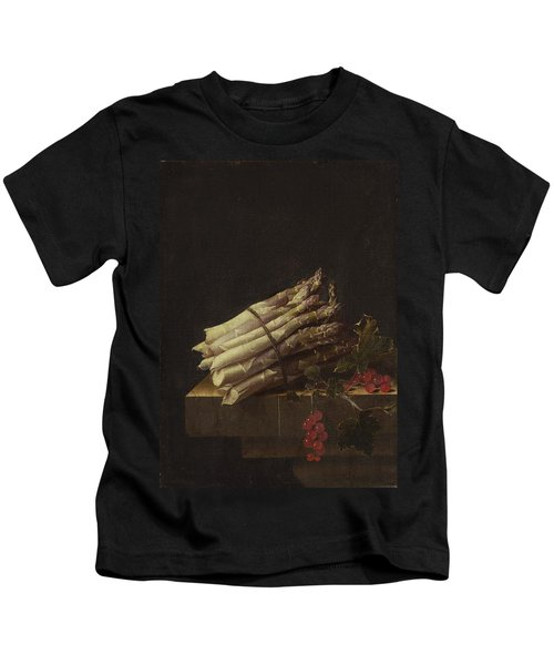Still Life With Asparagus And Red Currants Kids T-Shirt by Adriaen Coorte