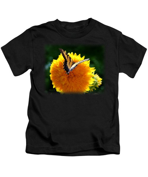 Swallowtail On Sunflower Kids T-Shirt by Korrine Holt