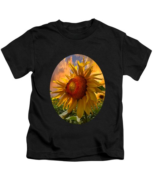Sunflower Dawn In Oval Kids T-Shirt by Debra and Dave Vanderlaan