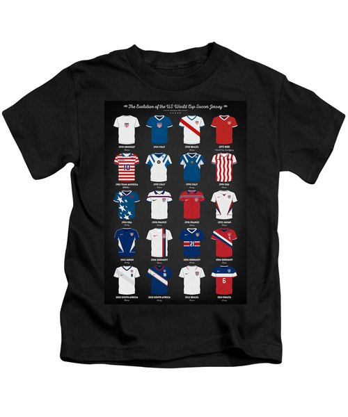 The Evolution Of The Us World Cup Soccer Jersey Kids T-Shirt by Taylan Soyturk