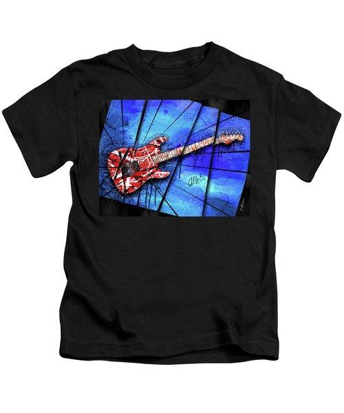 The Frankenstrat On Blue I Kids T-Shirt by Gary Bodnar