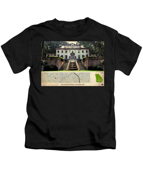 The Hunger Games Catching Fire Movie Location And Map Kids T-Shirt by Pablo Franchi