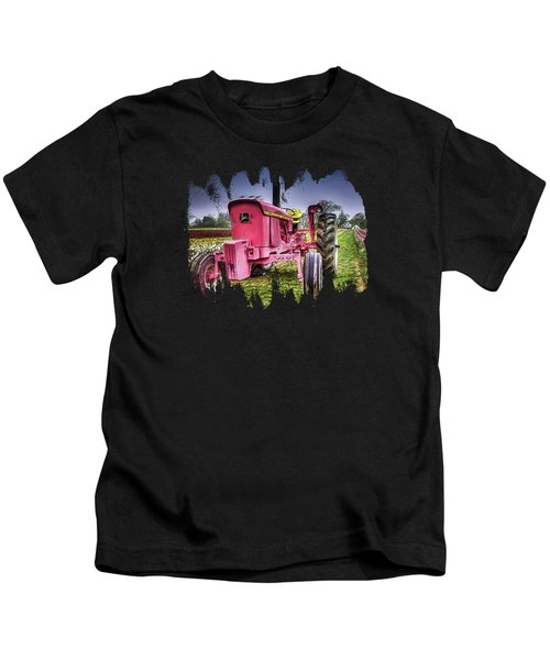 The Pink Tractor At The Wooden Shoe Tulip Farm Kids T-Shirt by Thom Zehrfeld