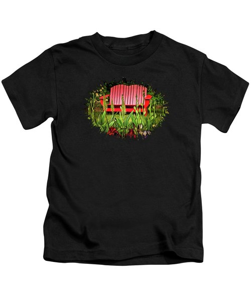 The Red Garden Bench Kids T-Shirt by Thom Zehrfeld