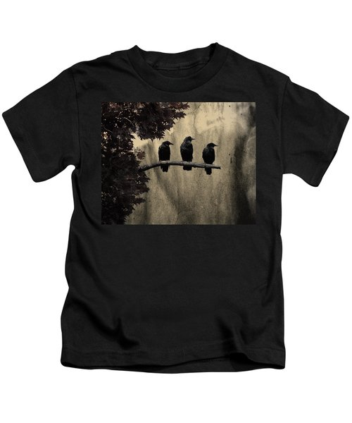 Three Ravens Kids T-Shirt by Gothicolors Donna