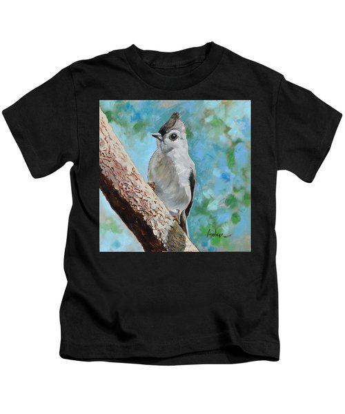 Tufted Titmouse #1 Kids T-Shirt by Amber Foote