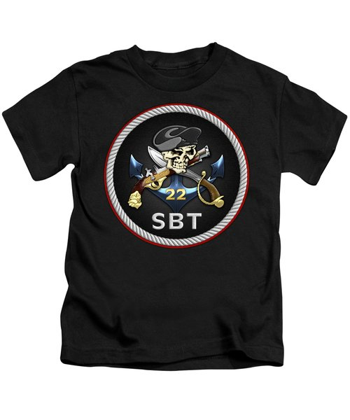 U. S. Navy S W C C - Special Boat Team 22  -  S B T 22  Patch Over Black Velvet Kids T-Shirt by Serge Averbukh