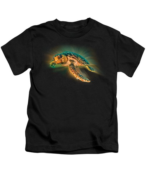 Undersea Turtle Kids T-Shirt by Debra and Dave Vanderlaan