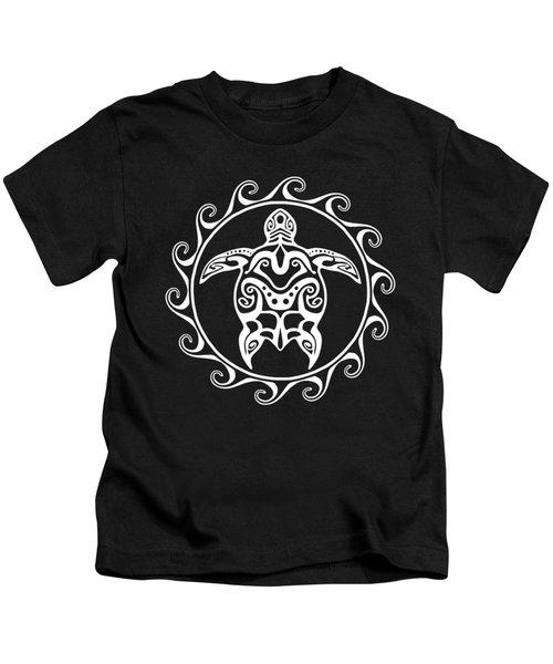 White Tribal Turtle Kids T-Shirt by Chris MacDonald