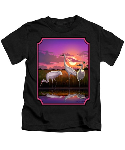 Whooping Cranes Tropical Florida Everglades Sunset Birds Landscape Scene Purple Pink Print Kids T-Shirt by Walt Curlee