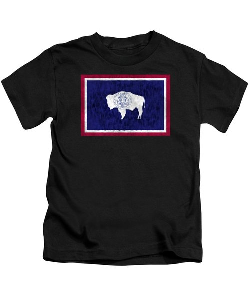 Wyoming Map Art With Flag Design Kids T-Shirt by World Art Prints And Designs