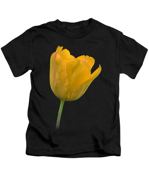 Yellow Tulip Open On Black Kids T-Shirt by Gill Billington