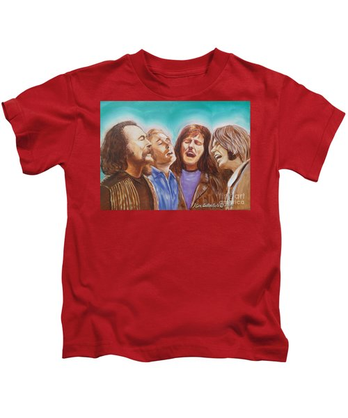 Crosby Stills Nash And Young Kids T-Shirt by Kean Butterfield