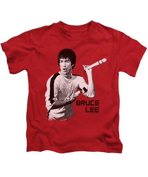 Bruce Lee - Nunchucks Kids T-Shirt by Brand A