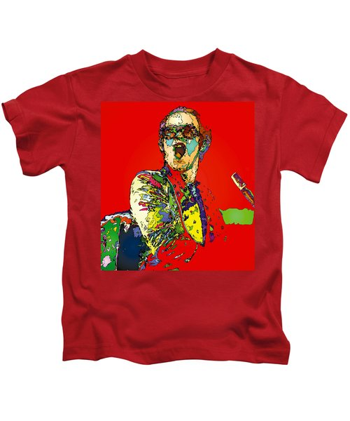 Elton In Red Kids T-Shirt by John Farr