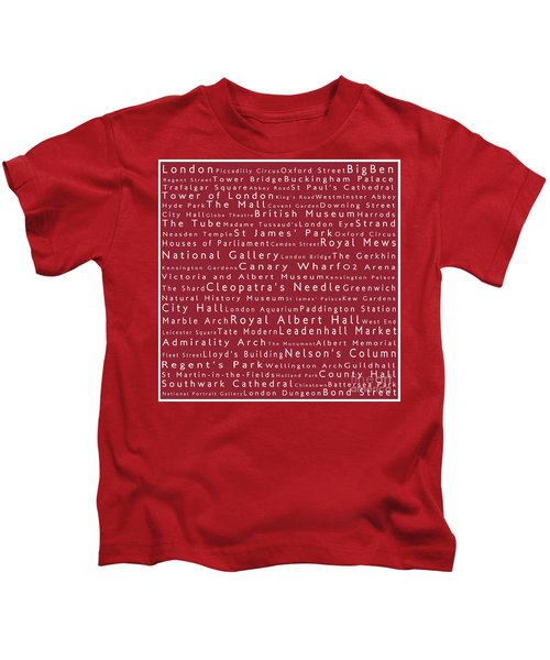 London In Words Red Kids T-Shirt by Sabine Jacobs