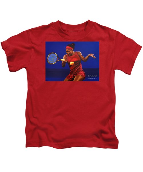 Serena Williams Painting Kids T-Shirt by Paul Meijering