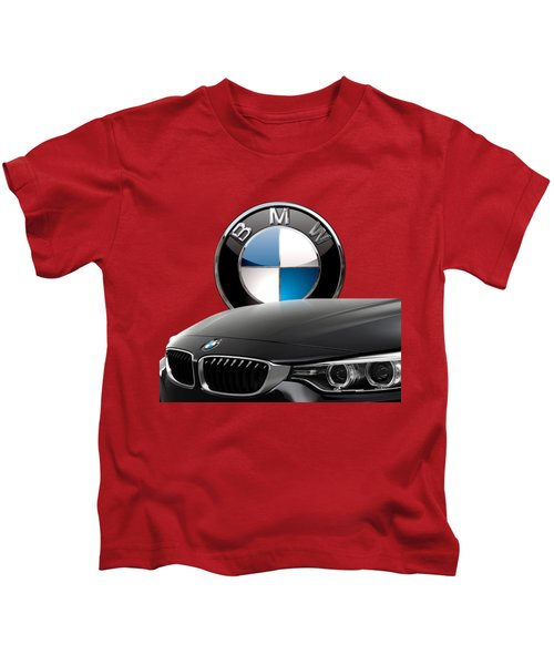 Black B M W - Front Grill Ornament And 3 D Badge On Red Kids T-Shirt by Serge Averbukh