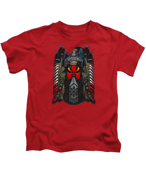 Chinese Masks - Large Masks Series - The Red Face Kids T-Shirt by Serge Averbukh