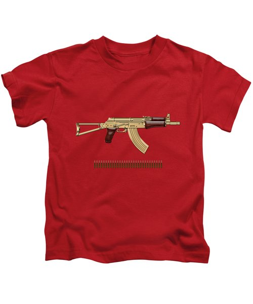 Gold A K S-74 U Assault Rifle With 5.45x39 Rounds Over Red Velvet   Kids T-Shirt by Serge Averbukh