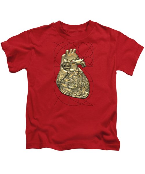 Heart Of Gold - Golden Human Heart On Red Canvas Kids T-Shirt by Serge Averbukh